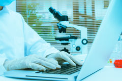 Female Scientists Using Microscopes In Laboratory,female medical Royalty Free Stock Images