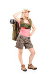 Female scout with backpack Royalty Free Stock Photo