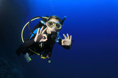 Female Scuba Diver Stock Photography