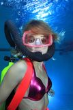Female scuba diver Stock Image