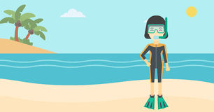 Female scuba diver on beach vector illustration. Royalty Free Stock Photo