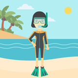Female scuba diver on beach vector illustration. Stock Photography