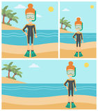 Female scuba diver on beach vector illustration. Royalty Free Stock Photography