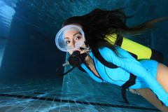 Female scuba diver with lycra suit Royalty Free Stock Photos