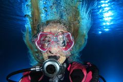 Female scuba diver Stock Photos