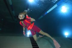 Female scuba diver Stock Photo