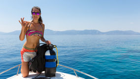 Free Female Scuba Diver Shows The  OK  Sign Stock Photography - 77737692