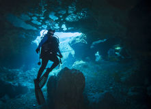 Female Scuba Diver - Vortex Springs Cavern. A mother of three and college student takes a break and enjoys scuba diving and looking at the air bubbles trapped on royalty free stock photos