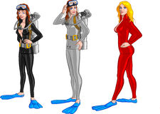Female scuba divers. Cartoon illustration of three scuba divers in wet suits, white background Royalty Free Stock Photos
