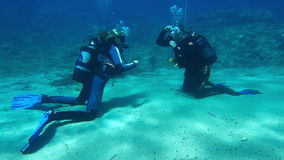 Female Scuba diving Instructor stock video