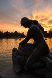 Female sculpture in Buen Retiro park lake, Madrid royalty free stock photography
