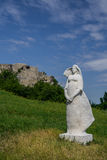 Female sculpture in Devin castle. In Slovakia Royalty Free Stock Images