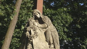 Female sculpture monuments in Lychakiv cemetery open-air museum stock video