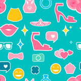 Female Seamless pattern. Female interests are symbols. Seamless pattern background. Colored Vector illustration Royalty Free Stock Image