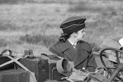 Second World War II female soldier stock photo