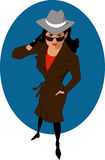 Female secret agent or private detective Royalty Free Stock Image