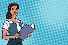 Female Secretary, African American, pop art illustration. Female Secretary, African American people. Business woman. Copy space background. Pop art retro vector royalty free illustration