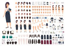 Female secretary or office assistant animation kit. Bundle of woman`s body parts, gestures, postures, clothes isolated. On white background. Front, side and royalty free illustration