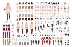 Female secretary or office assistant constructor or creation kit. Bundle of pretty cartoon character body parts, facial. Expressions, poses, clothes isolated on stock illustration