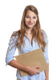 Female secretary with record in her hand Stock Images