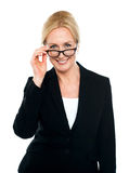 Female secretary taking a closer look at you Royalty Free Stock Images