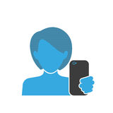 Female selfie blue icon Stock Photos