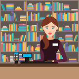 Female seller in a bookstore. Vector illustration. Girl seller at the bookstore in the background of the shelves with the goods. Vector illustration. Flat Royalty Free Stock Images