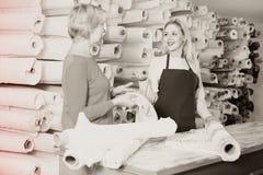 Female seller demonstrating fabrics to senior buyer in textile s Stock Images