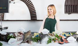 Female seller in fish store Royalty Free Stock Images
