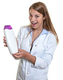 Female seller loves this lotion Stock Photography