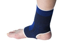 Female senior with ankle support Stock Images
