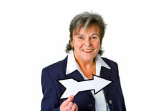 Female senior with blank arrow Stock Photography