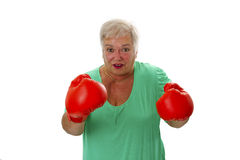 Female senior boxing Stock Photo