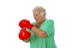 Female senior boxing Stock Images