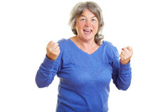 Female senior citizen clenching Royalty Free Stock Photography