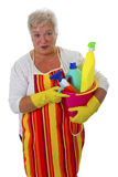Female senior with  cleaning utensils Stock Photography