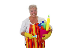 Female senior with  cleaning utensils Royalty Free Stock Photo