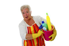 Female senior with  cleaning utensils Stock Photo