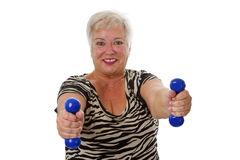 Female senior with dumbbell Royalty Free Stock Photography