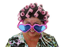 Female senior with funny wig Royalty Free Stock Images