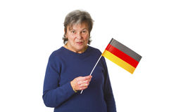 Female senior with german flag Royalty Free Stock Photography