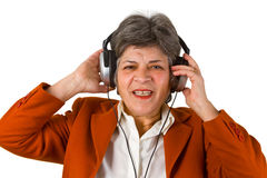 Female senior with headphone Royalty Free Stock Image