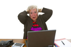 Female senior with laptop Stock Photo