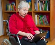 Female senior with laptop Stock Photography