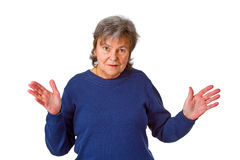 Female senior with open arms Royalty Free Stock Images