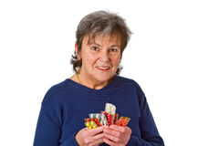 Female senior with pills Royalty Free Stock Photo