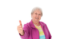 Female senior with thumb up Stock Photos