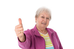 Female senior with thumb up Stock Image