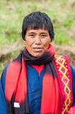 Female senior in traditional clothes in Bhutan Royalty Free Stock Photo