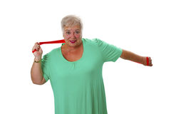 Female senior woman exercises Royalty Free Stock Photo